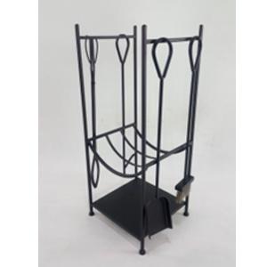 Juego de 4 accesorios para chimenea en base en color negro de 35x28x73cm