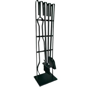 Juego de 4 accesorios para chimenea en base en color negro de 20x14x72cm
