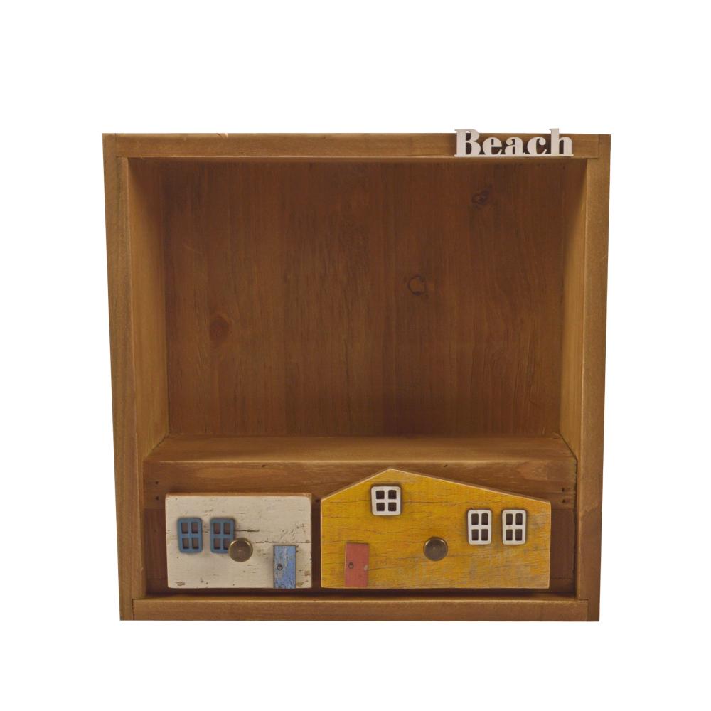 Mueble de pared con repisa y 2 cajones diseño casitas de colores de 30x30x11cm
