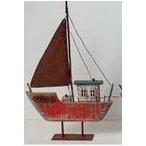 Decoración de Barco rojo de 31x20x3.5cm