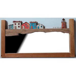 Espejo de pared diseño casitas y faro de 70x37x4cm