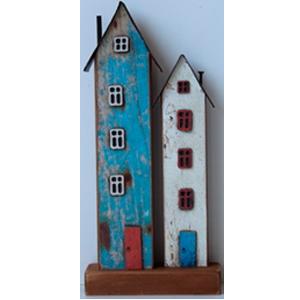 Decoración de casas azul y blanca de 24x11x4cm