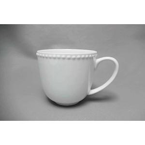 Taza de porcelana blanca c/perlas en la orilla de 13x9.5x10.1cm