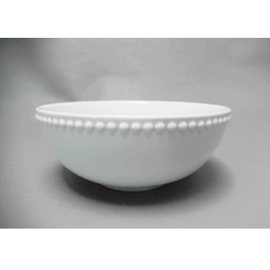 Tazón de porcelana blanca c/perlas en la orilla de 15.5x15.5x6.9cm