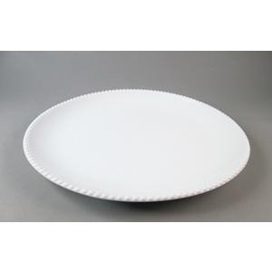 Plato de porcelana blanca c/perlas en la orilla de 28x28x3cm