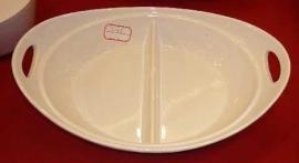 Refractario de porcelana c/ divicion y asas de 42x30x12cm