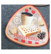 Porta calientes triangular diseño café y galletas de 20x20cm