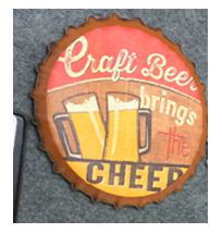 Porta calientes diseño corcholata de letrero de cerveza de 20x20cm