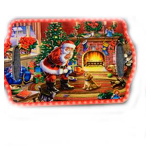Portacalientes rectangular con Santa Claus de 18x28cm