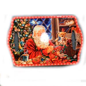 Portacalientes rectangular con Santa Claus cosiendo de 18x28cm