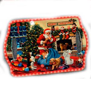 Portacalientes rectangular con Santa Claus y costal con juguetes de 18x28cm