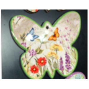 Porta calientes diseño mariposa verde con estampado de flores y mariposas de 17x19cm