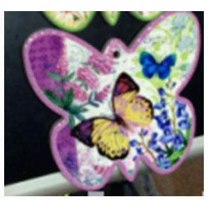 Porta calientes diseño mariposa morada con estampado de flores y mariposas de 17x19cm