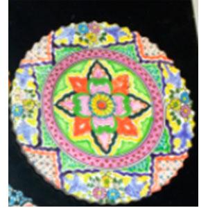 Porta calientes redondo diseño flor de colores de 18x18cm