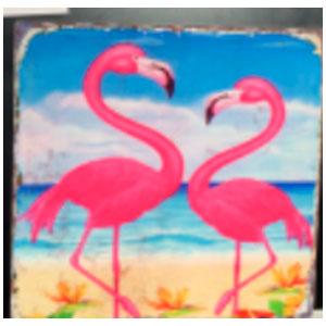 Porta calientes cuadrado diseño Flamingos rosas de 20x20cm
