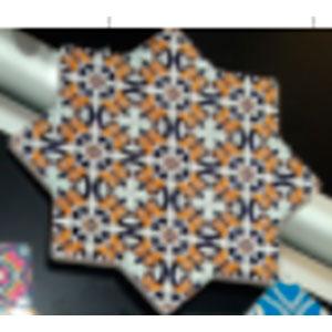 Porta calientes diseño estrella con estampado de mosaicos de 20x20cm