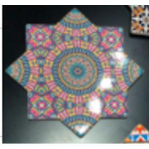 Porta calientes diseño estrella con estampado de mosaicos rosas de 20x20cm