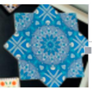 Porta calientes diseño estrella con estampado de mosaicos azules de 20x20cm