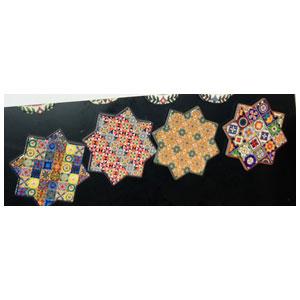 Juego de 4 portavasos diseño Estrellas con estampado de mosaicos de colores de 10.8x10.8cm