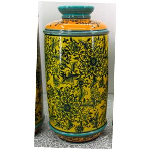 Tibor de porcelana grabado de flores amarillas y negras de 18.5x18.5x40cm