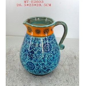 Jarra de porcelana grabado flores en tonos azules y naranja de 26.5x23x28.5cm