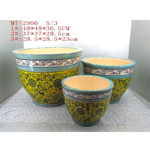 Maceta de porcelana grabado flores en tonos amarillos y azules de 37x37x28.5xm