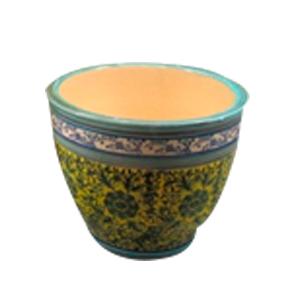 Maceta de porcelana grabado flores en tonos amarillos y azules de 48x48x36.5cm