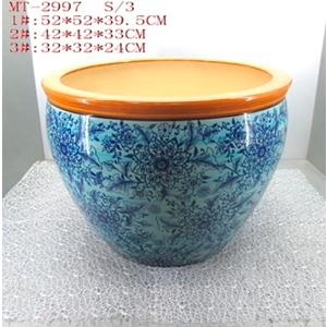 Maceta de porcelana grabado flores en tonos azules y franga naranja de 32x32x24cm
