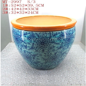 Maceta de porcelana grabado flores en tonos azules y franga naranja de 42x42x33cm