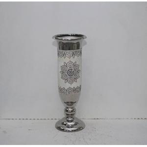 Florero diseño copa plateado con estampado de flor de 21.2x21.2x59xcm