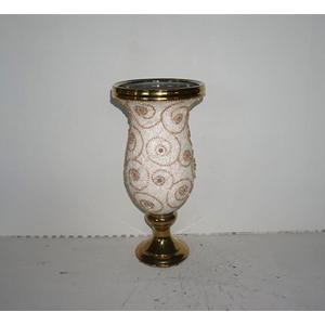 Floreo diseño copa dorado con estampado de flor de 21x21x44xcm