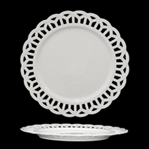 Plato de porcelana blanca con orilla de encaje calado de 31cm