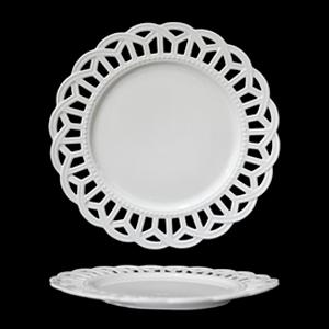 Plato de porcelana blanca con orilla de encaje calado de 27cm