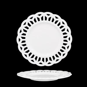 Plato de porcelana blanca con orilla de encaje calado de 21cm