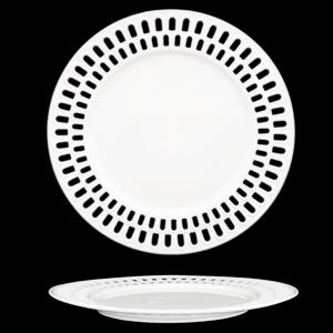 Plato de porcelana blanca con orilla calada diseño arcos de 31cm