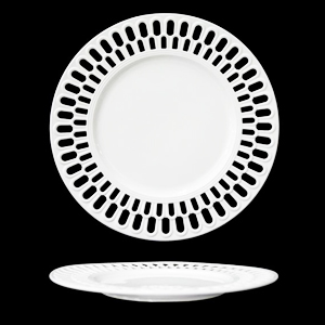 Plato de porcelana blanca con orilla calada diseño arcos de 27cm
