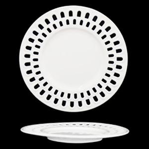 Plato de porcelana blanca con orilla calada diseño arcos de 21cm