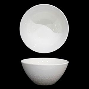Tazón de porcelana blanca con grabado de 14cm