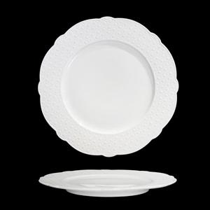 Platón de porcelana blanca con diseño de círculos en la orilla de 25cm