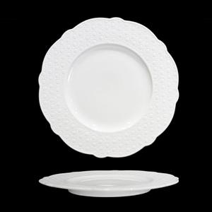Platón de porcelana blanca con diseño de círculos en la orilla de 20cm