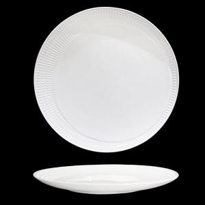 Platón de porcelana blanca con diseño de líneas en la orilla de 20cm