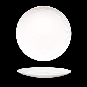 Platón de porcelana blanca con diseño de líneas en la orilla de 25cm