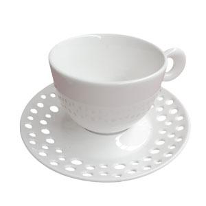 Taza de porcelana blanca con plato diseño circulo de 12cm