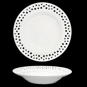 Plato de porcelana blanca con perforaciones de círculos de 22cm