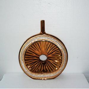 Florero redondo dorado con incrustaciones de pedrería de 28x6x34cm