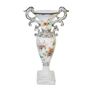 Florero diseño copa con diseño flores de colores 31x20x61cm