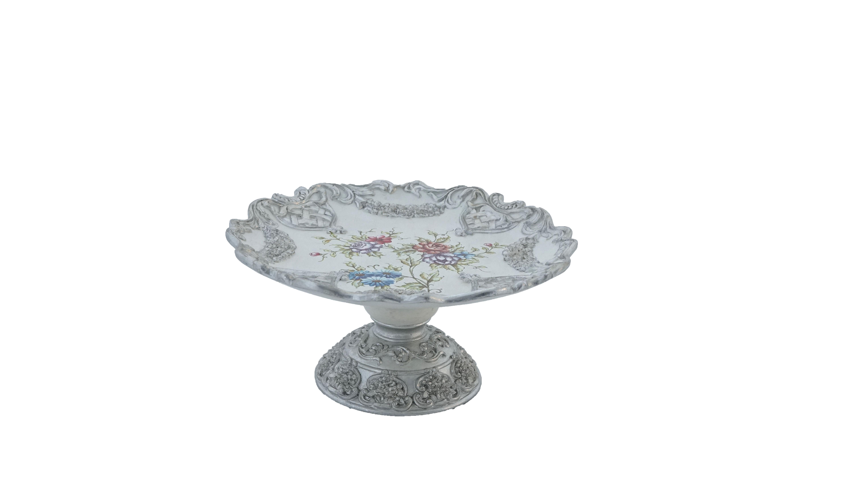Frutero plateado diseño flores de colores 35x35x17cm