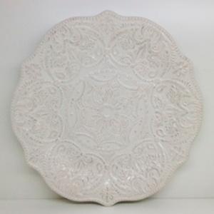 Plato de procelana blanca con orilla diseño encaje de 36cm