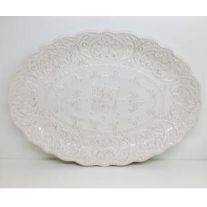 Plato oval de procelana con grabao de 41cm