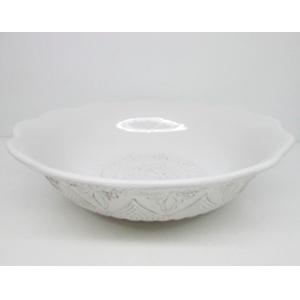 Bowl de porcelana blanca con grabado de 28cm